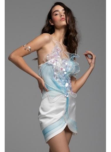 Tuba Ergin Volanlı Tül Detaylı Şeffaf Payet İşlemeli Mini Anahita Elbise Beyaz